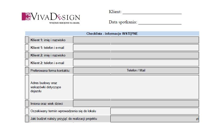 Checklista spotkania inicjującego - projektowanie wnętrz Viva Design