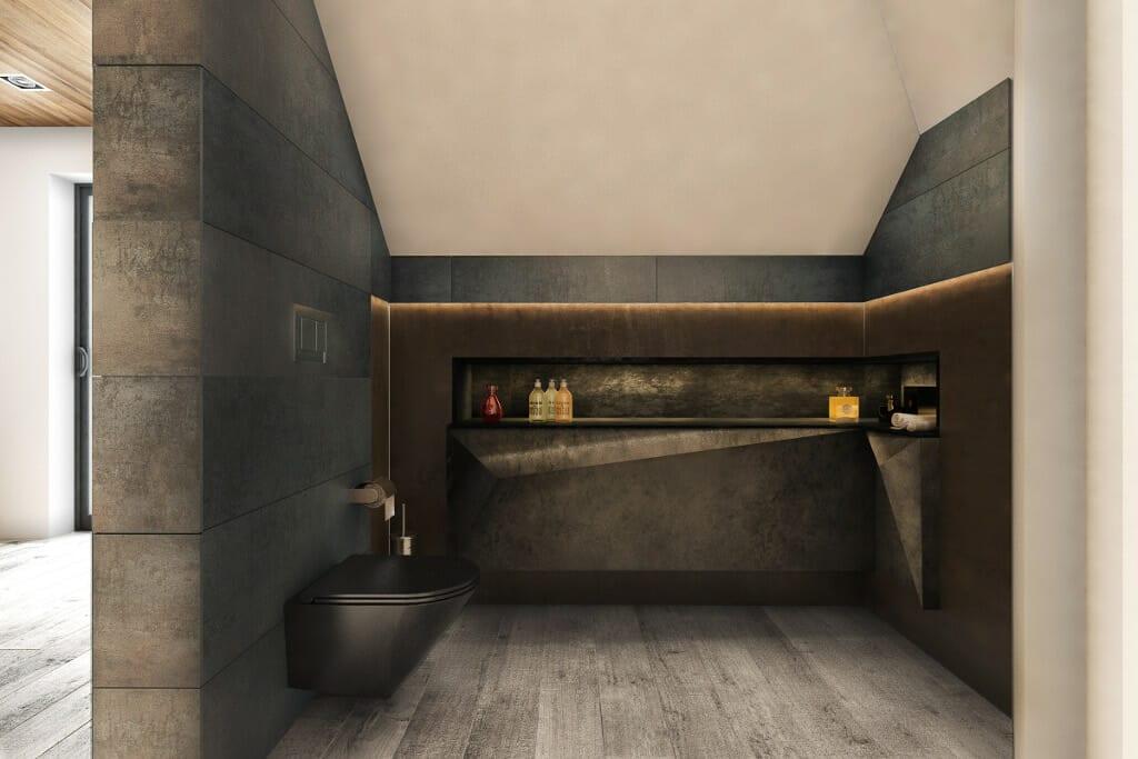 Łazienka, wc czarny, Rzeszów, Tyczyn, wizualizacja, wizualizacje, projektant wnętrz, architekt wnętrz