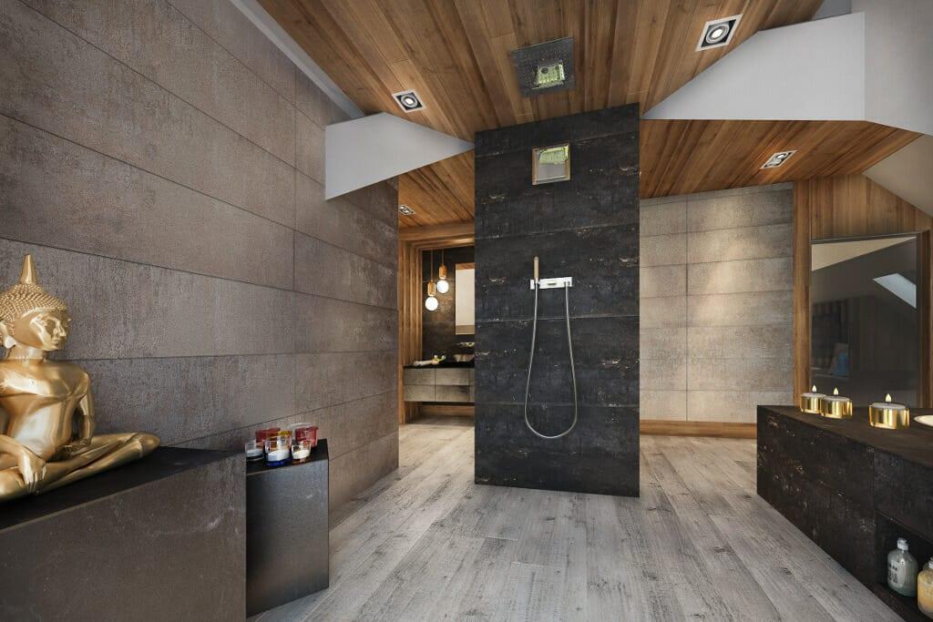 Łazienka, Rzeszów, Tyczyn, wizualizacja, wizualizacje, prysznic, wolnostojący, walk-in, projektant wnętrz, architekt wnętrz
