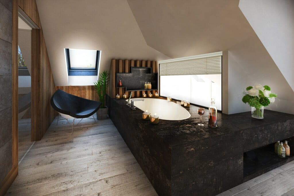 łazienka, wizualizacje, wanna zabudowana, fotel, nastrojowa, wizualizacja, wizualizacje, Rzeszów, Tyczyn, Viva Design, projektant wnętrz, architekt wnętrz