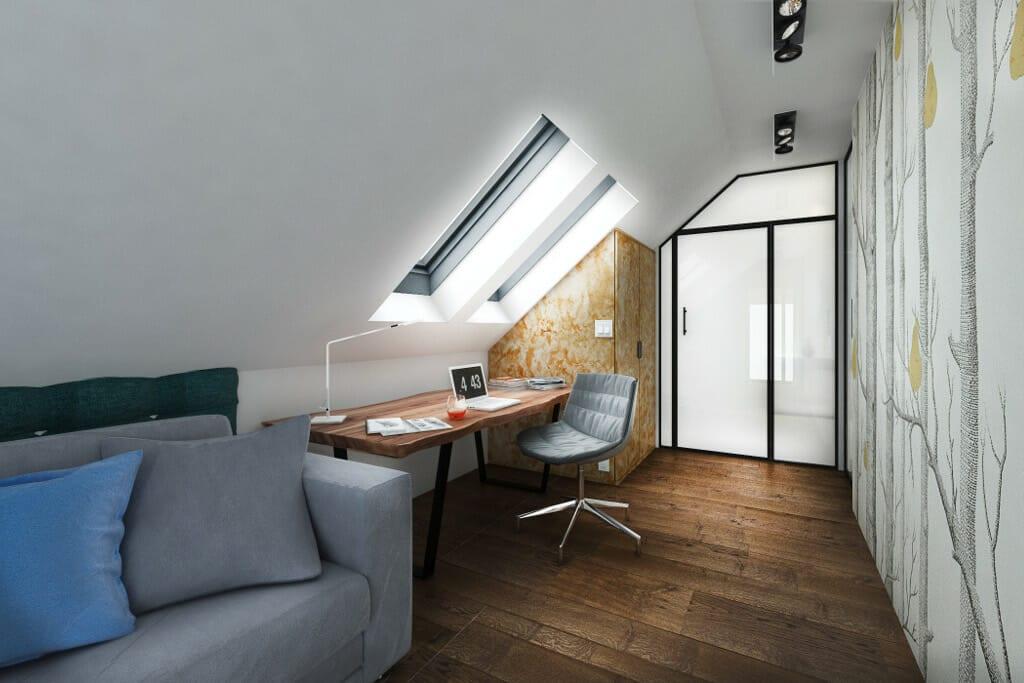 Pokój gościnnny, tapeta, dekorian, sofa, wizualizacja, viva design, Rzeszów, Tyczyn
