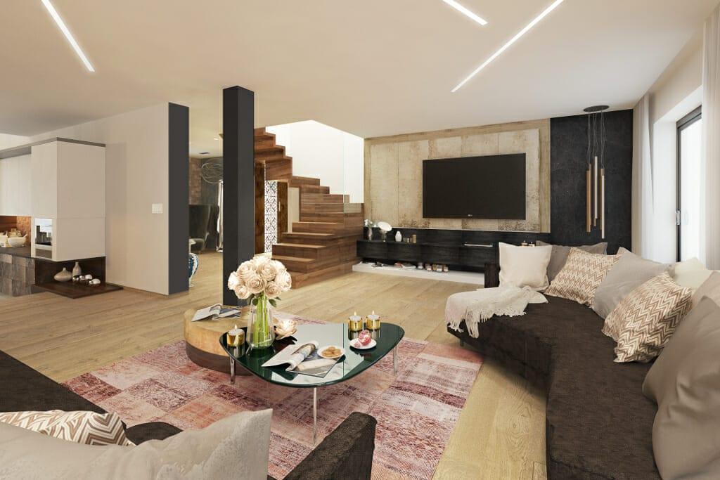 salon, pokój dzienny, ściana TV, wizualizacje, wizualizacja, Tyczyn, Rzeszów, Viva Design, projektowanie wnętrz, projektant wnętrz,