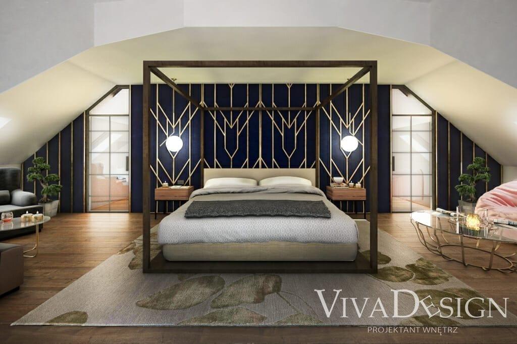 Łóżko małżeńskie w sypialni z baldachimem na poddaszu