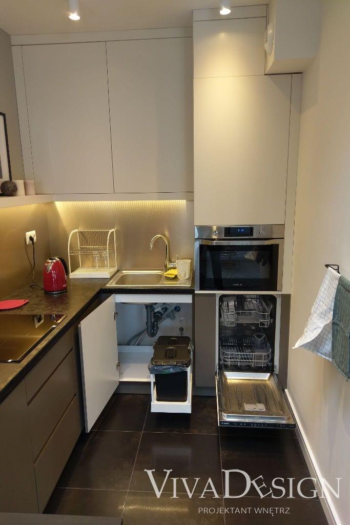Zdjęcie kuchni ze zmywarką - apartament pod klucz Kraków Krupnicza, viva design, Rzeszow, architekt wnetrz, architektura wnętrz, projekty wnetrz, Kraków