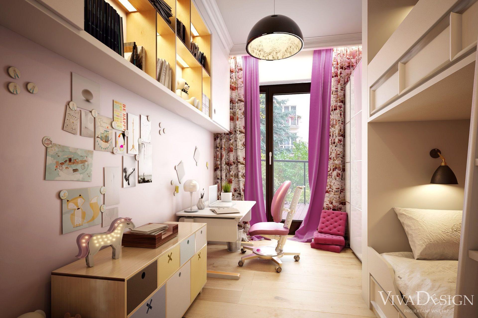 Uroczy różowy pokój dziecięcy dla dziewczynki
