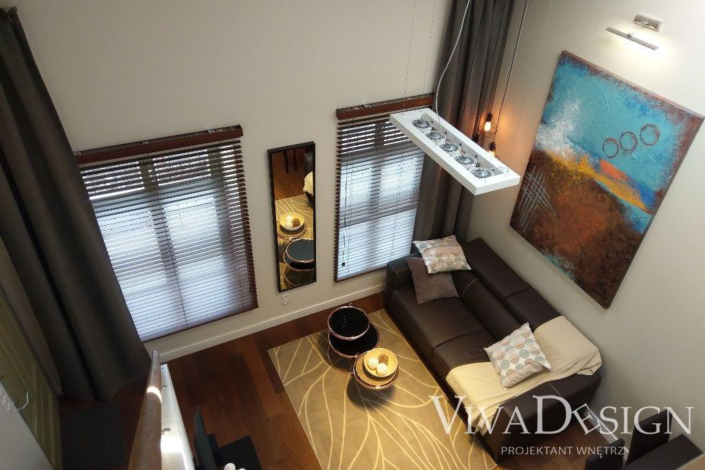 Zdjęcie salonu - widok z antresoli - apartament pod klucz Kraków Krupnicza