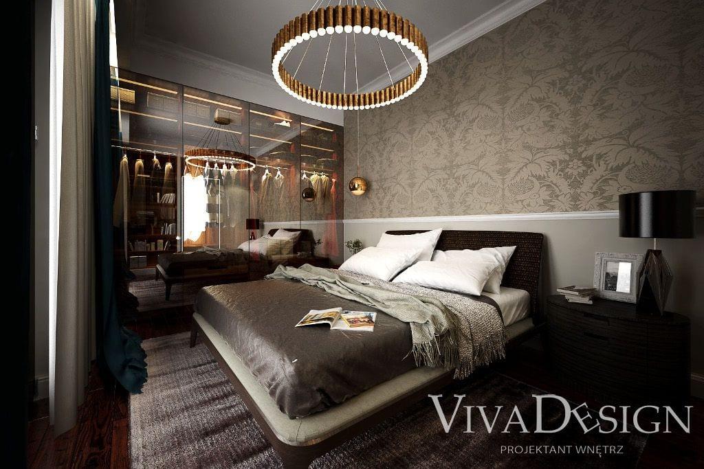 Luksusowo urządzona sypialnia rodziców w apartamencie w Warszawie - saska kępa - wizualizacje wraz z projektem wnętrz przygotowane przez pracownię projektowania wnętrz Viva Design z Rzeszowa, architekt wnetrz, interior design, Kraków, Krakow, viva design, architekt wnętrz