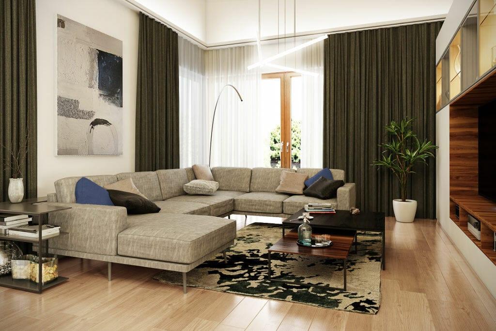 Wizualizacja salonu z drewnianą podłoga w jasnym kolorze i dużą sofą narożną. Wizualizacje przygotowane przez pracownię projektowania wnętrz Viva Design z Rzeszowa. viva design, projektant wnętrz, projekty wnetrz, pod klucz, projektowanie wnętrz, Kraków