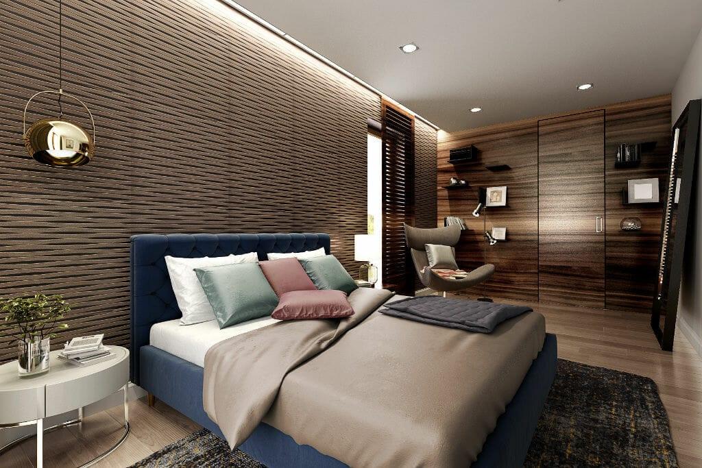 Wizualizacja głównej sypialni widokiem na fornirowaną ścianę z ukrytym przejściem do garderoby, projekty wnętrz wraz z wizualizacjami zostały przygotowane przez pracownię projektowania wnętrz Viva Design z Rzeszowa, interior design, projekty wnetrz, Rzeszów, projektant wnętrz, Warszawa, projektant wnetrz