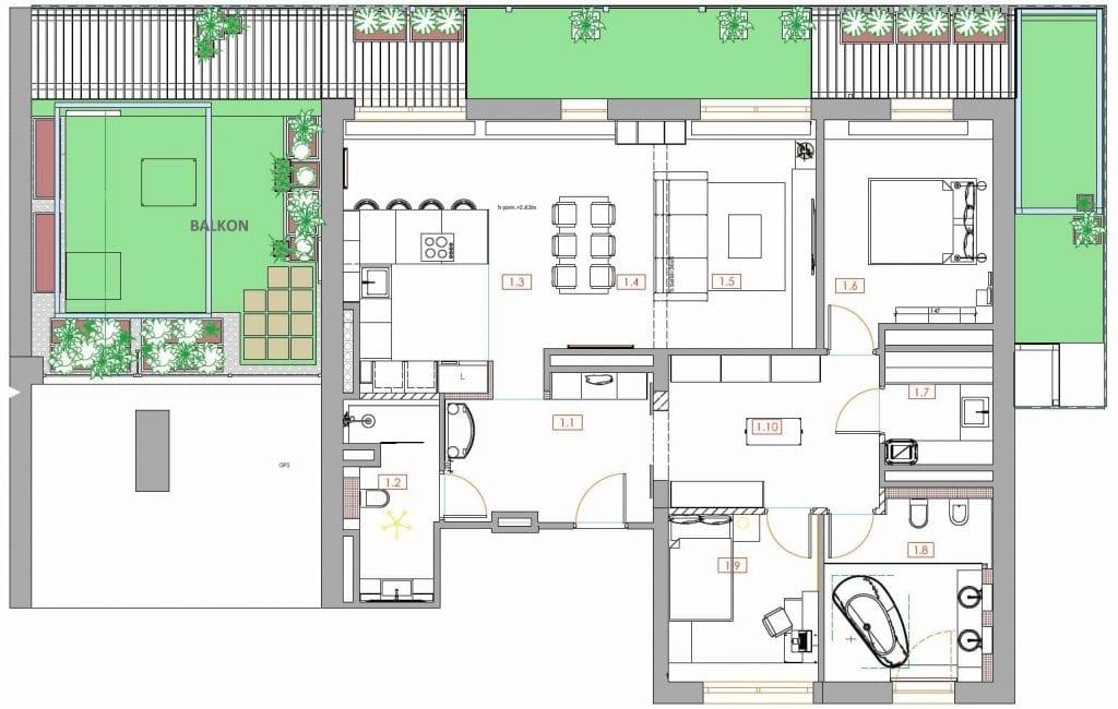 rzut apartament ciekawe rozwiązania funkcjonalne