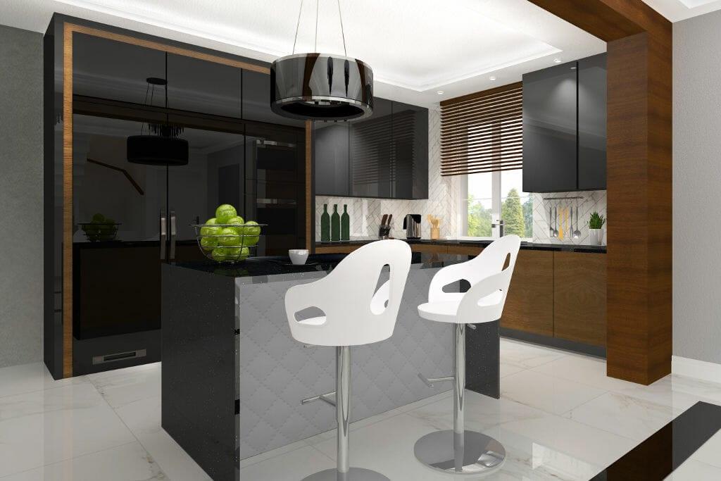 Kuchnia, hokery, wyspa, okap wyspowy, glamour, nowoczesny, Rzeszów, viva design, projektowanie wnętrz, wnętrze, wizualizacja