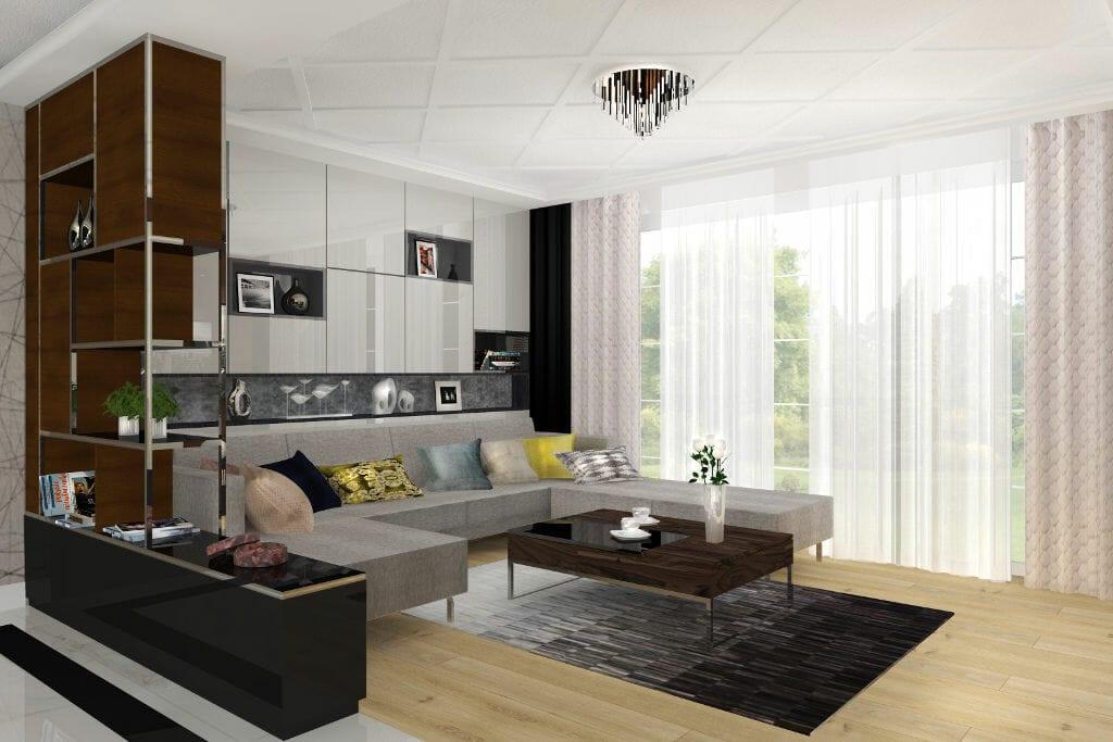 Salon, glamour, nowoczesny, sofa z szezlongiem, półki nad sofą, lakierowane fronty na wysoki połysk, jasna podłoga drewniana, sztukateria na suficie, interior design, Rzeszow, Rzeszów, architektura wnetrz, architekt wnetrz, Krakow