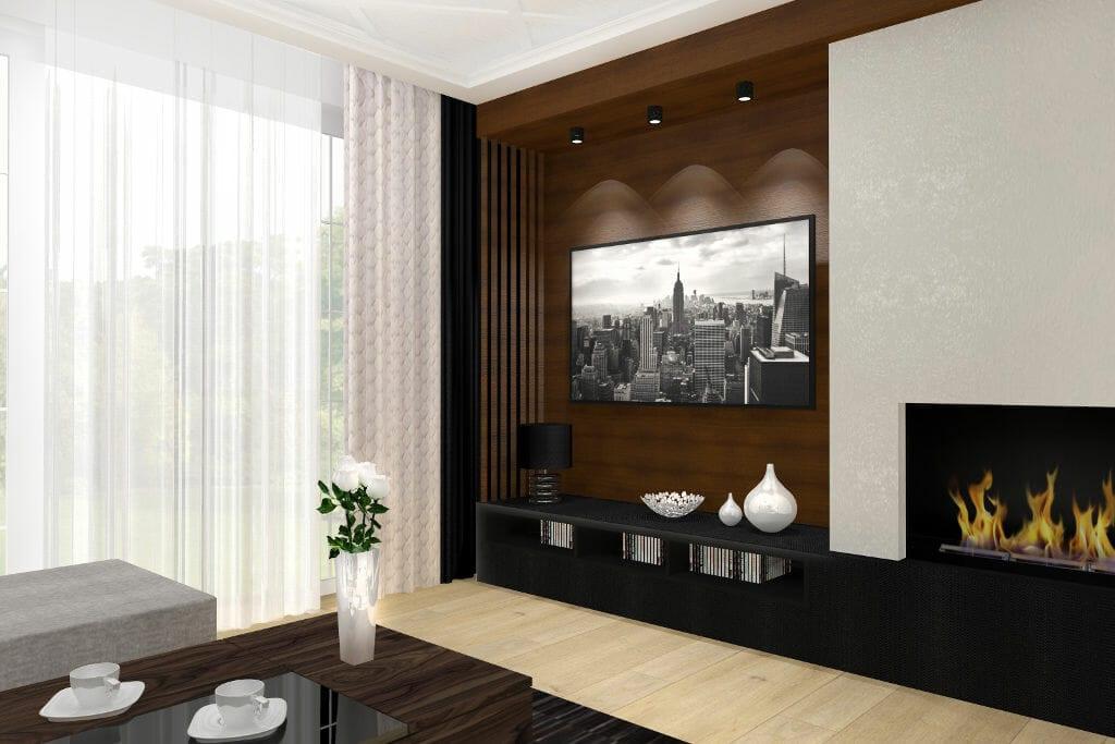 Salon, glamour, nowoczesny, ściana fornirowana za telewizorem, czarna szafka RTV, jasna podłoga, zasłony brązowe, firanki, projektant wnętrz, Krakow, Kraków, interior design, pod klucz, projektant wnetrz