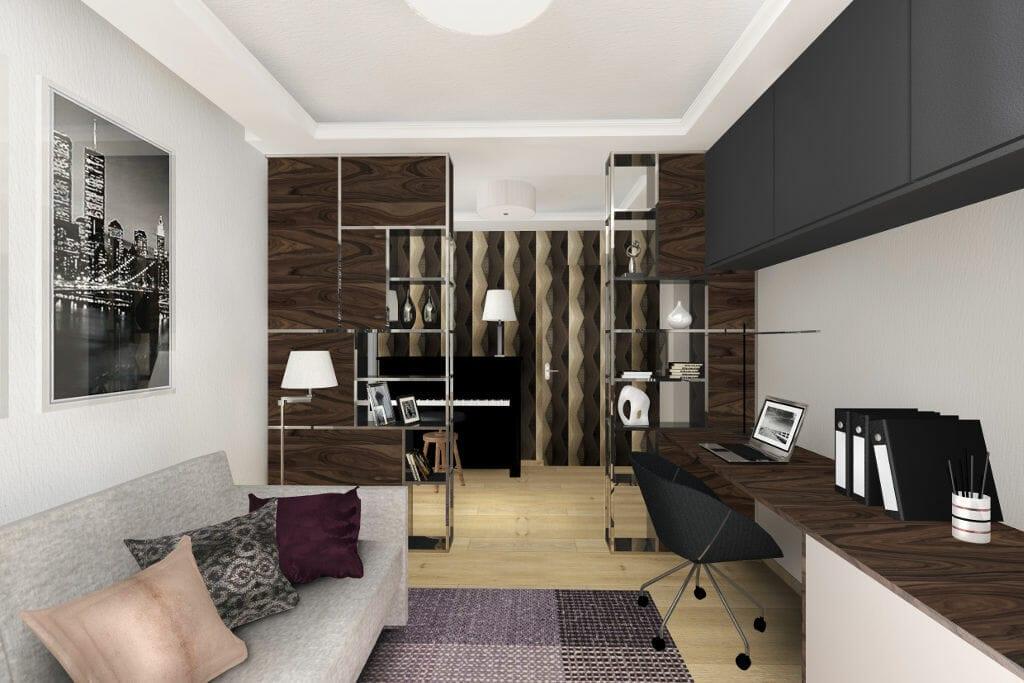 Gabinet, glamour, nowoczesny, Rzeszów, viva design, projektowanie wnętrz, wnętrze, wizualizacja