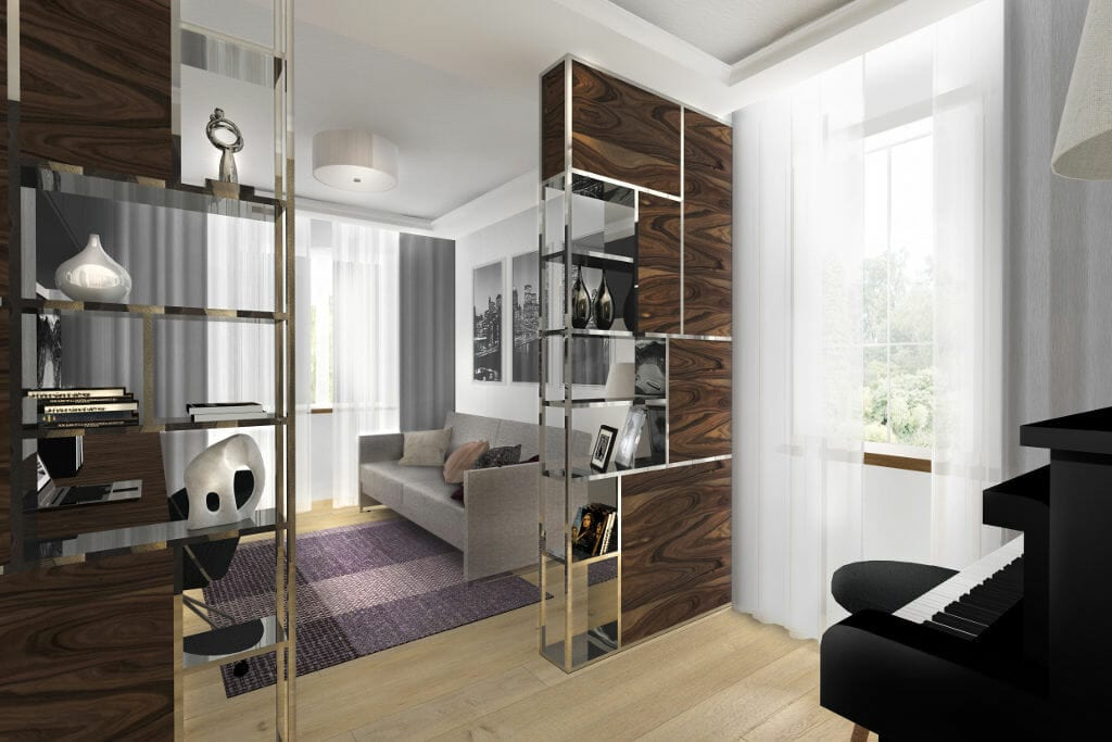 Salon, glamour, nowoczesny, szafka oddzielająca salon od jadalni, chromowane nóżki, sofa beżowa, projektowanie wnętrz, interior design, pod klucz, Krakow, Warszawa, projektowanie wnetrz