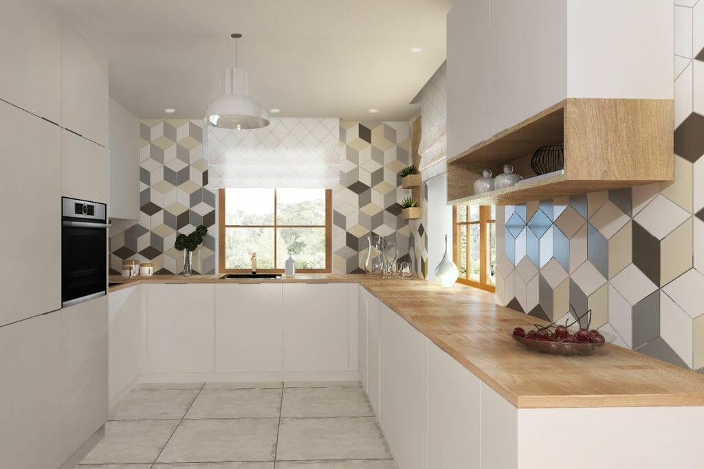Kuchnia, heksagony, skandynawski, modernistyczna, wizualizacja, drewniany blat, na ścianie płytki w różnokolorowe wzory reksagonalne, architektura wnętrz, architekt wnętrz, Krakow, projekty wnętrz, interior design, pod klucz