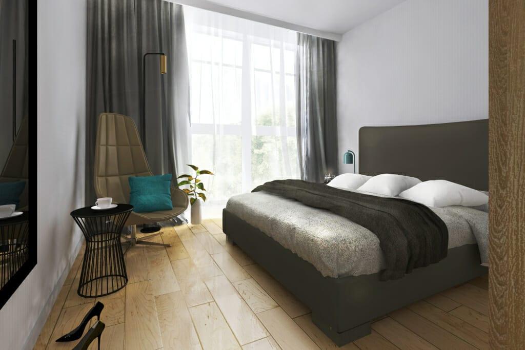 Apartament za parkiem Jarosław, wizualizacja sypialni, Kraków, Krakow, pod klucz, Rzeszów, projektant wnętrz, architektura wnętrz