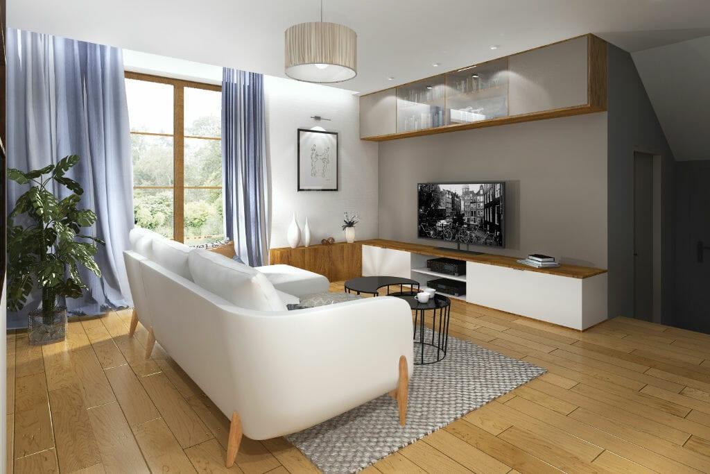 salon, skandynawski, modernizm, szafka RTV jasne fronty, drewniany blat, szafka wisząca przeszklona, sofa trzyosobowa z szezlongiem, niebieskie, błękitne zasłony, białe ściany, Rzeszów, architekt wnętrz, pod klucz, projektant wnetrz, Krakow, projektowanie wnetrz