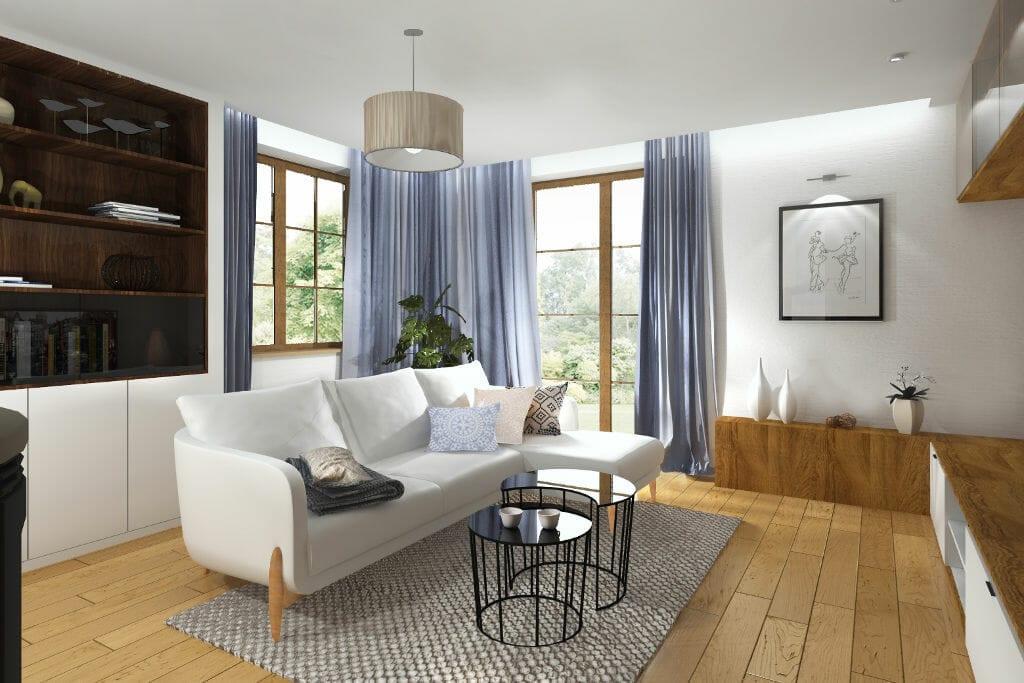 salon, skandynawski, modernizm, sofa trzyosobowa z szezlongiem, błękitne, niebieskie tkaniny na oknie, białe ściany, jasne drewno na podłodze, pod klucz, interior design, Krakow, architektura wnetrz, architekt wnetrz, projekty wnetrz