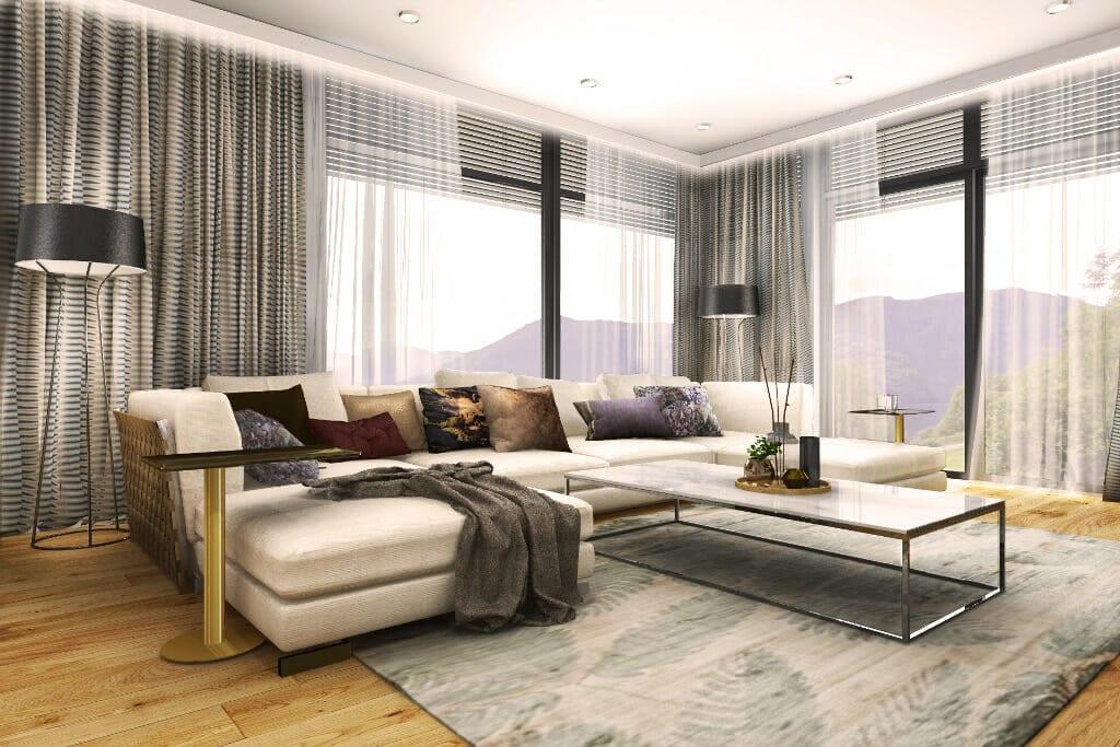 salon, living room, wizualizacja, Norwegia, norway, visualization, sofa w kształcie litery U, stolik chromowane nóżki, chromowe, blat granitowy, marmurowy, jasna tkanina sofy, żaluzje drewniane w oknach, firanki w odcieniach brązu, projektant wnętrz, projekty wnętrz, projekty wnetrz, projektowanie wnetrz, Rzeszow, architektura wnętrz