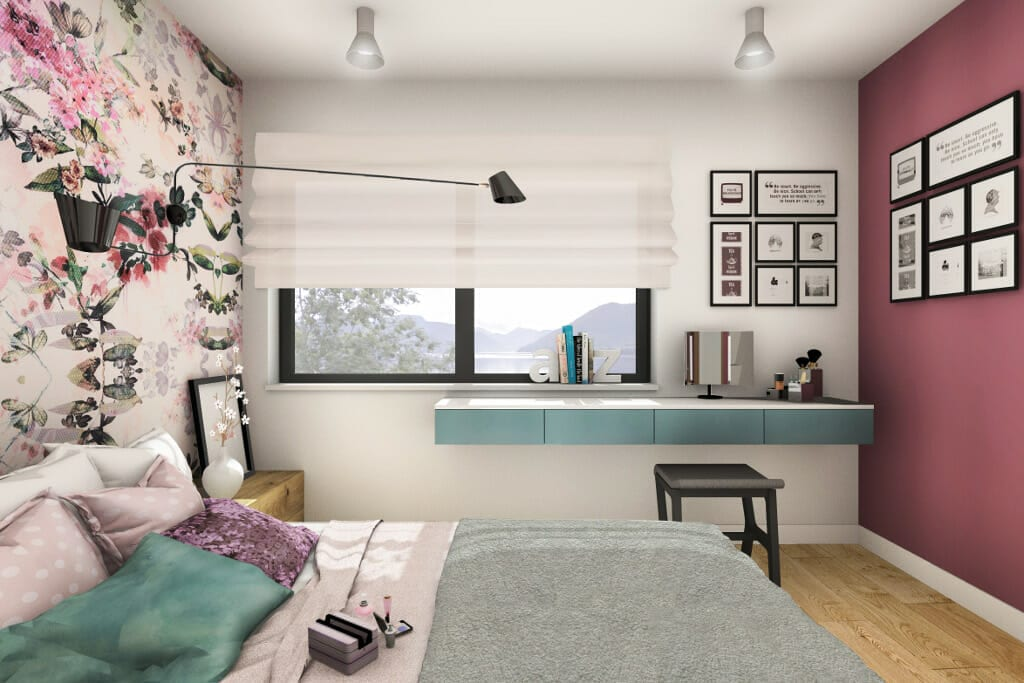 sypialnia, córki, dziecka, nastolatka, bedroom, wizualizacja, Norwegia, norway, visualization, Viva design, projektant, wnętrz, architekt, rzeszów, kraków, Warszawa, gdańsk