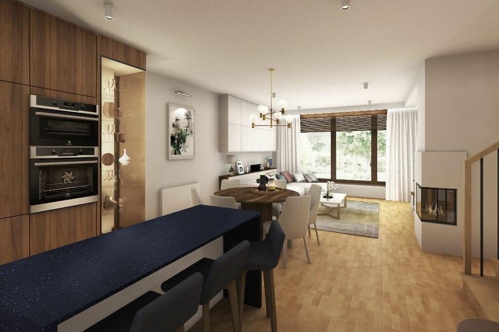 Wizualizacja salonu z jadalnią i wyspą, Rzeszów, projekty wnętrz, Kraków, projektowanie wnętrz, interior design