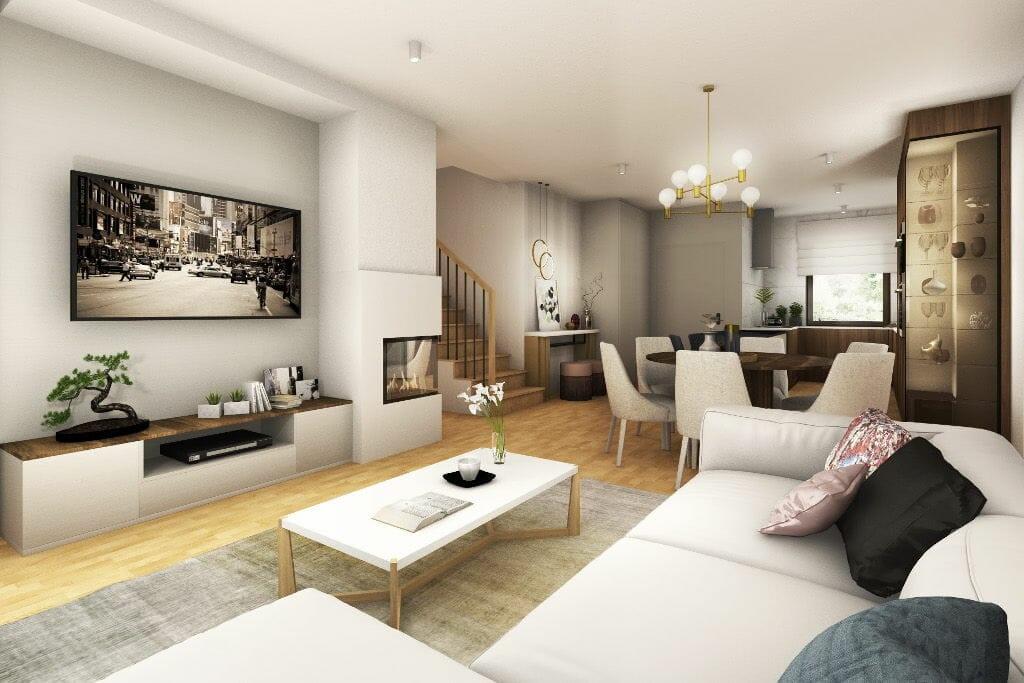 Wizualizacja salonu z jadalnią i sofą, architektura wnetrz, projektant wnętrz, architekt wnetrz