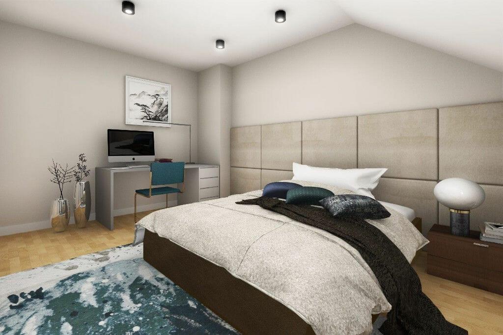 Wizualizacja sypialni męża, viva design, pod klucz, interior design, projekty wnetrz, Rzeszów