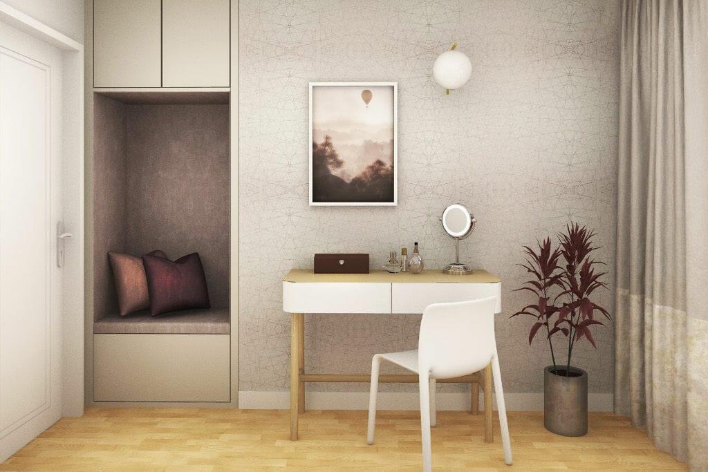 Wizualizacja sypialni żony, interior design, Kraków, Krakow, projekty wnętrz, projektant wnetrz