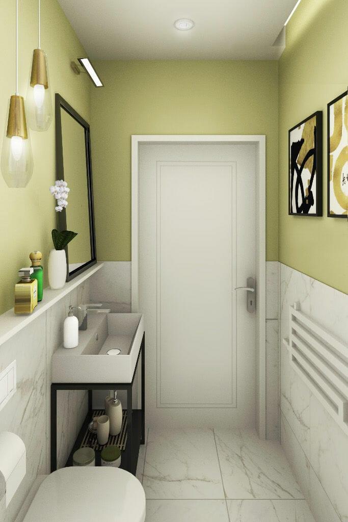 Wizualizacja toalety na parterze, architekt wnętrz, Krakow, architektura wnętrz