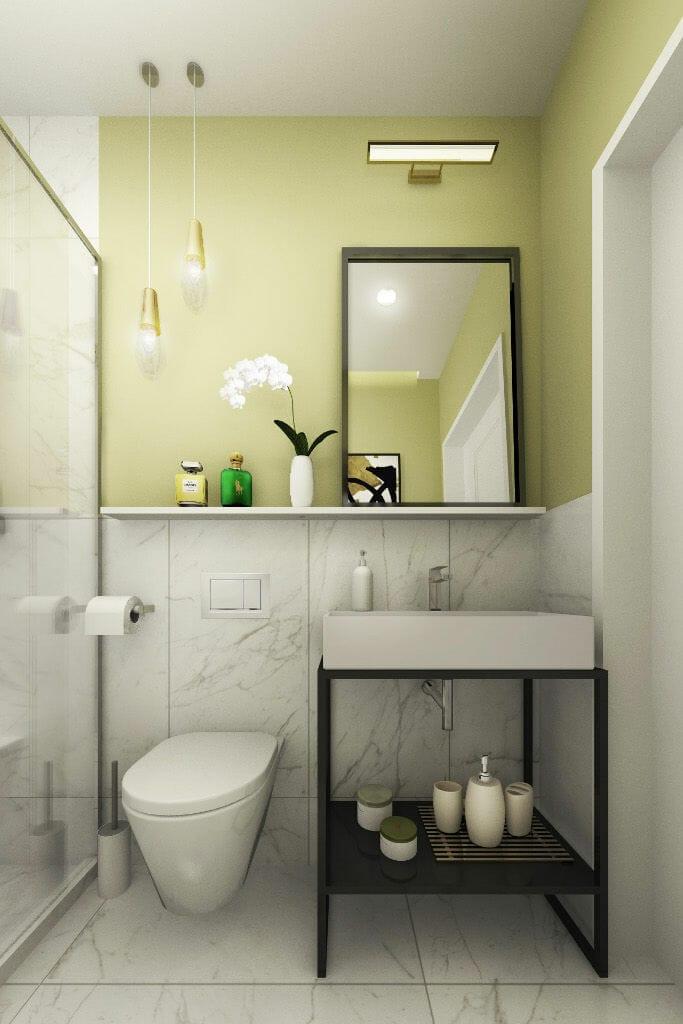 Wizualizacja toaleta na parterze, projektant wnętrz, projektowanie wnętrz, Krakow, Warszawa, viva design, projekty wnetrz