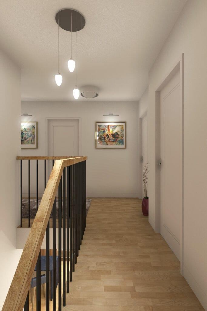 Wizualizacja holu na piętrze, architekt wnętrz, Kraków, Warszawa, projektant wnętrz, projektowanie wnętrz
