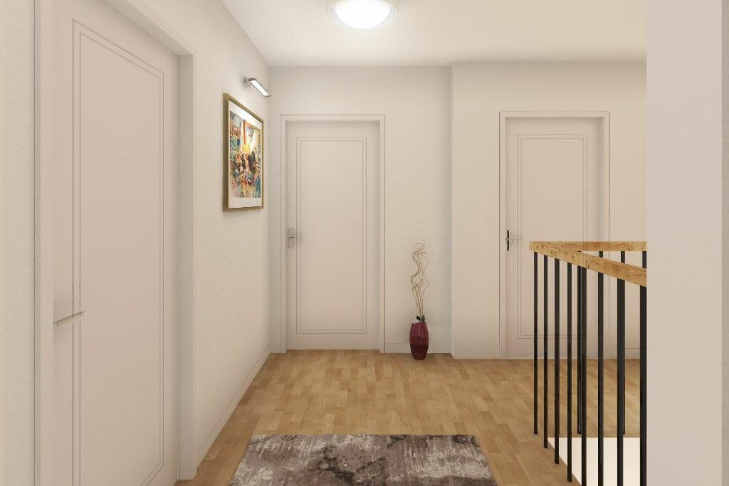 Wizualizacja holu na piętrze, projektant wnętrz, Rzeszow, architekt wnętrz, Warszawa