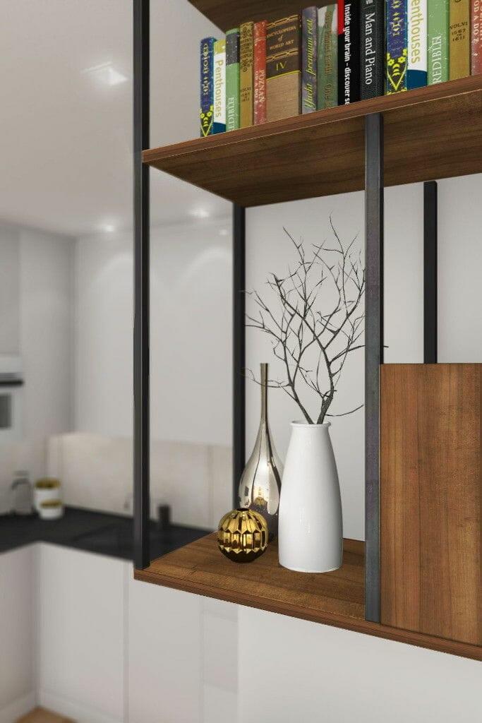 Wizualizacja salonu, zbliżenie na szafkę,  Krakow, projektant wnętrz, viva design