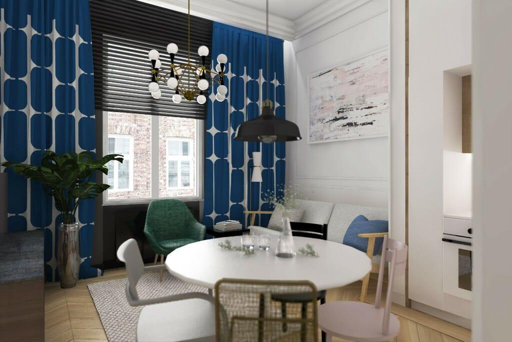 Wizualizacje apartamentu na wynajem - Warszawa, ul. Kępna, widok na jadalnię i okno, na oknie żaluzje z drewna egzotycznego, okrągły stół w kolorze białym w jadalni, dookoła stołu cztery krzesła - każde inne, pod oknem sofa z jasną tkaniną, na oknie zasłona w kolorze niebieskim i białymi wzorami, architektura wnętrz, viva design, projektowanie wnętrz, Kraków, projektowanie wnetrz, architektura wnetrz