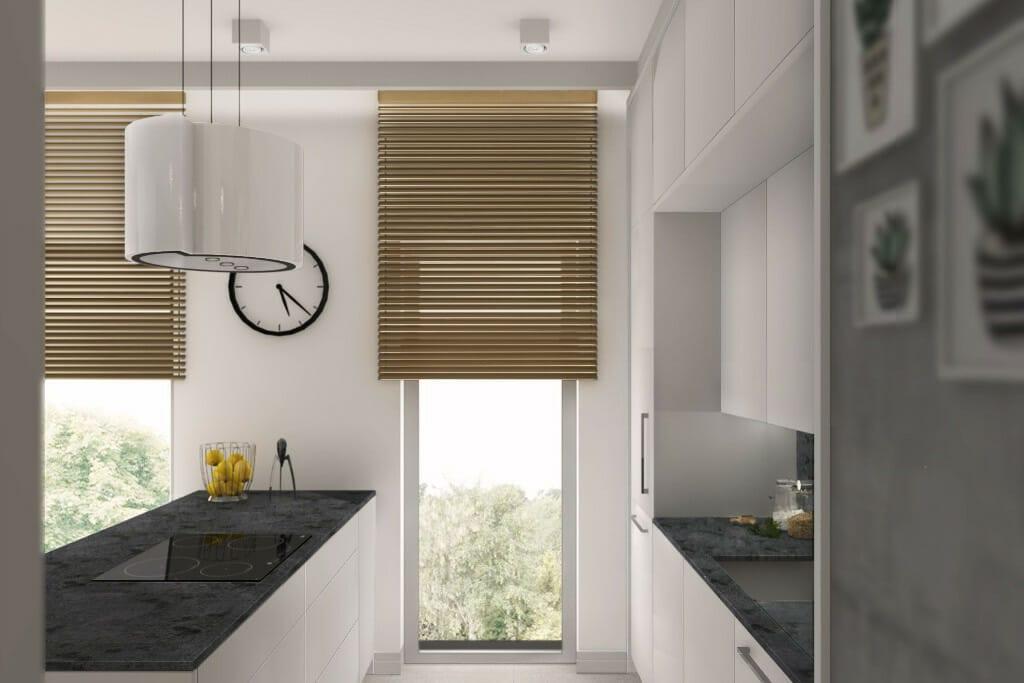 Wizualizacja kuchni, widok na wyspę - apartament w Rzeszowie, projekt wnętrz, architekt wnętrz, architektura wnętrz, projektowanie wnętrz, Rzeszów