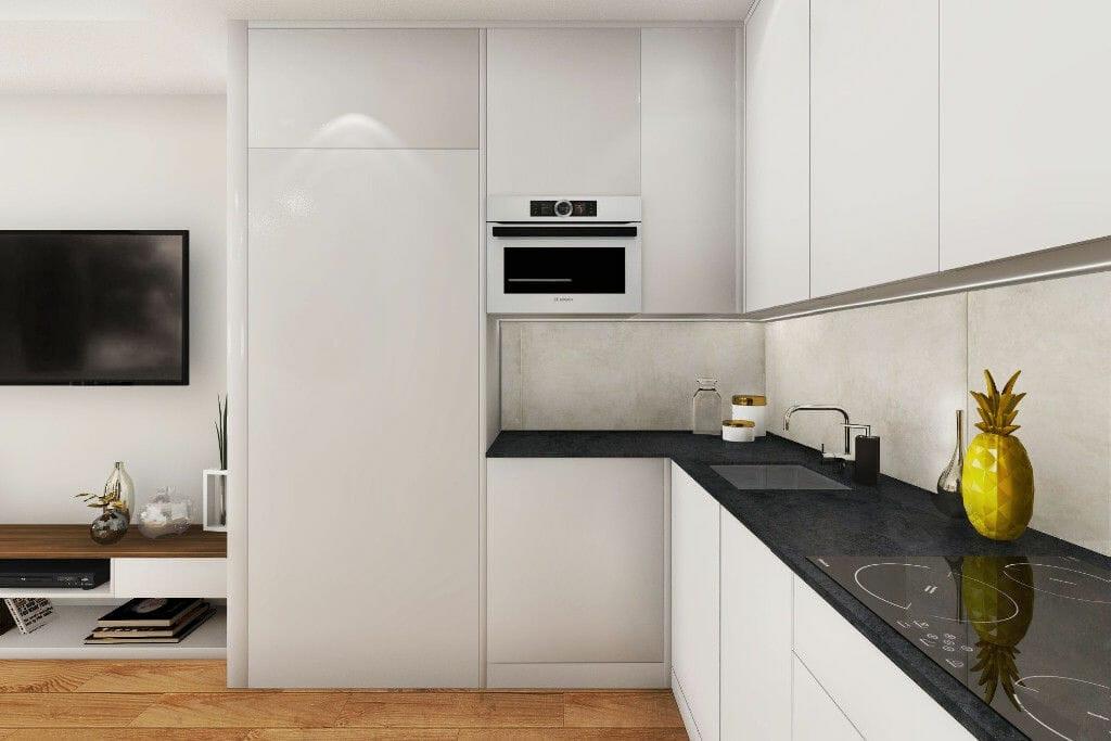 Wizualizacja kuchni, widok na lodówkę, blat, zlew i piekarnik,  architektura wnetrz, viva design, projektant wnętrz,  Warszawa
