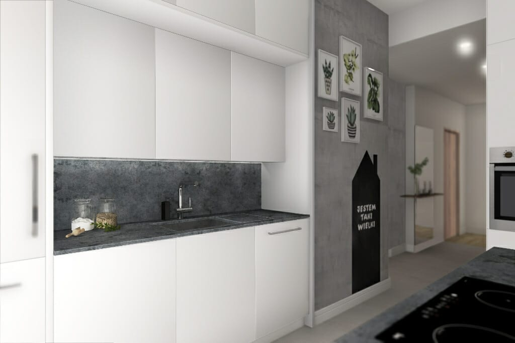 Wizualizacja kuchni, widok na szafki - apartament w Rzeszowie, projekty wnętrz, interior design, architektura wnętrz, Warszawa