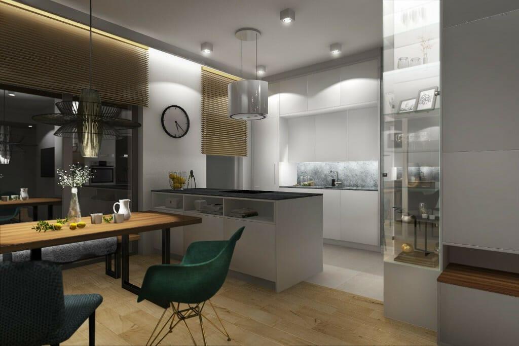 Wizualizacja kuchni, z salonu na wyspę i szafki - apartament w Rzeszowie, projekt wnętrz, architekt wnętrz, architektura wnętrz, projektowanie wnętrz, Rzeszów