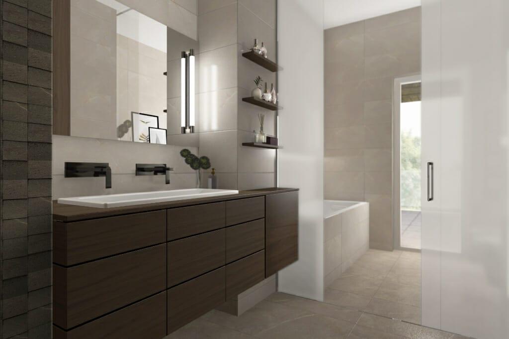 Wizualizacja łazienki, widok na szafkę z umywalką - apartament w Rzeszowie, projektant wnętrz, Kraków, projekty wnętrz, projekty wnetrz