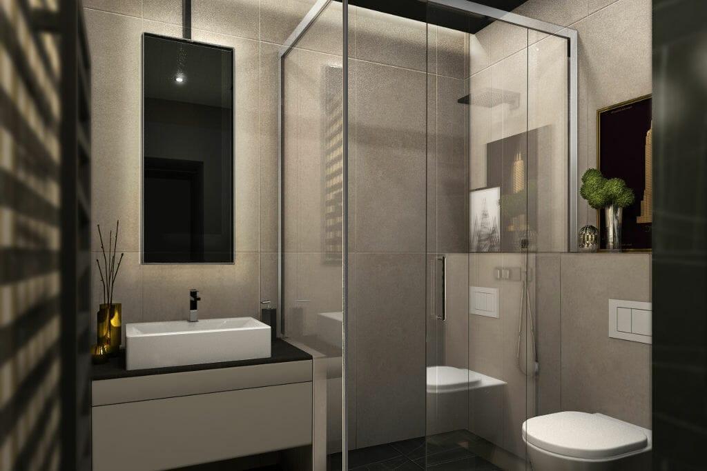 Wizualizacja łazienki, widok na kabinę prysznicową z umywalką, miską WC, architekt wnętrz, architekt wnetrz, Rzeszów