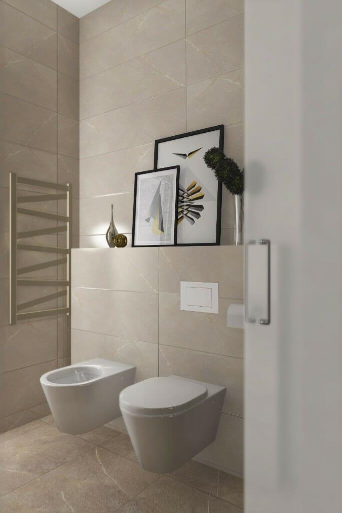 Wizualizacja łazienki, widok na miskę WC i bidet - apartament w Rzeszowie, projekt wnętrz, architekt wnętrz, architektura wnętrz, projektowanie wnętrz, Rzeszów