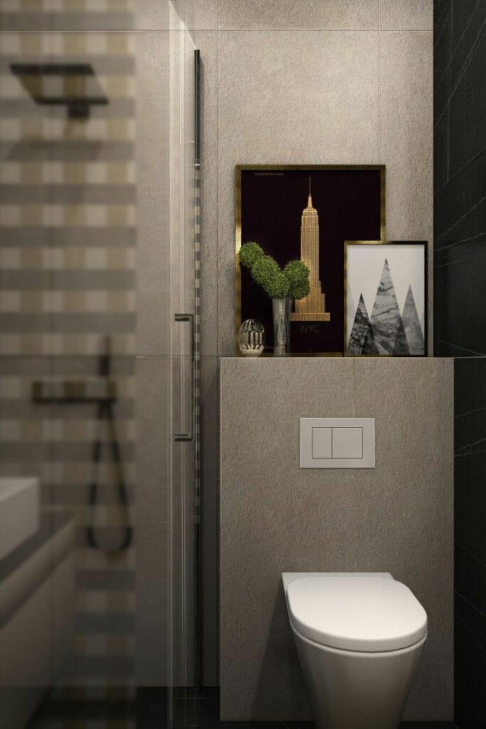 Wizualizacja łazienki, widok na miskę WC, projekty wnetrz, Kraków, projektowanie wnetrz, viva design