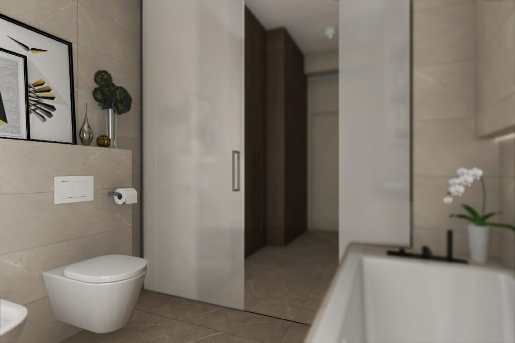 Wizualizacja łazienki, widok na szafki na bieliznę i kuwety dla trzech kotów - apartament w Rzeszowie, projektowanie wnętrz, Rzeszów