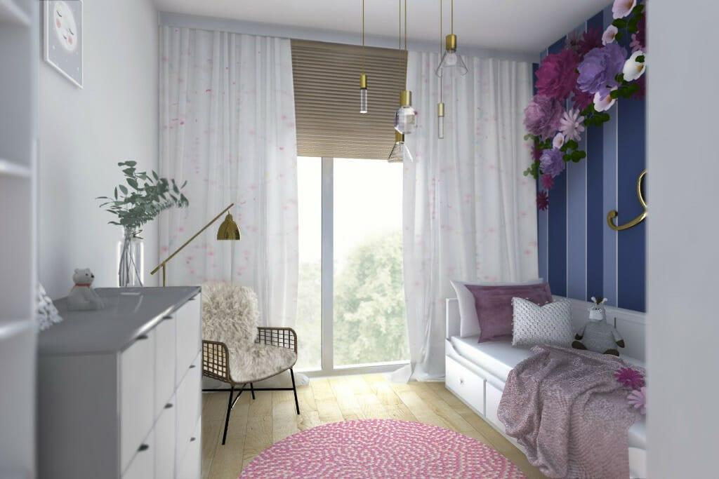 Wizualizacja pokoju córki, widok na ścianę z oknem - apartament w Rzeszowie, projekt wnętrz, architekt wnętrz, architektura wnętrz, projektowanie wnętrz, Rzeszów
