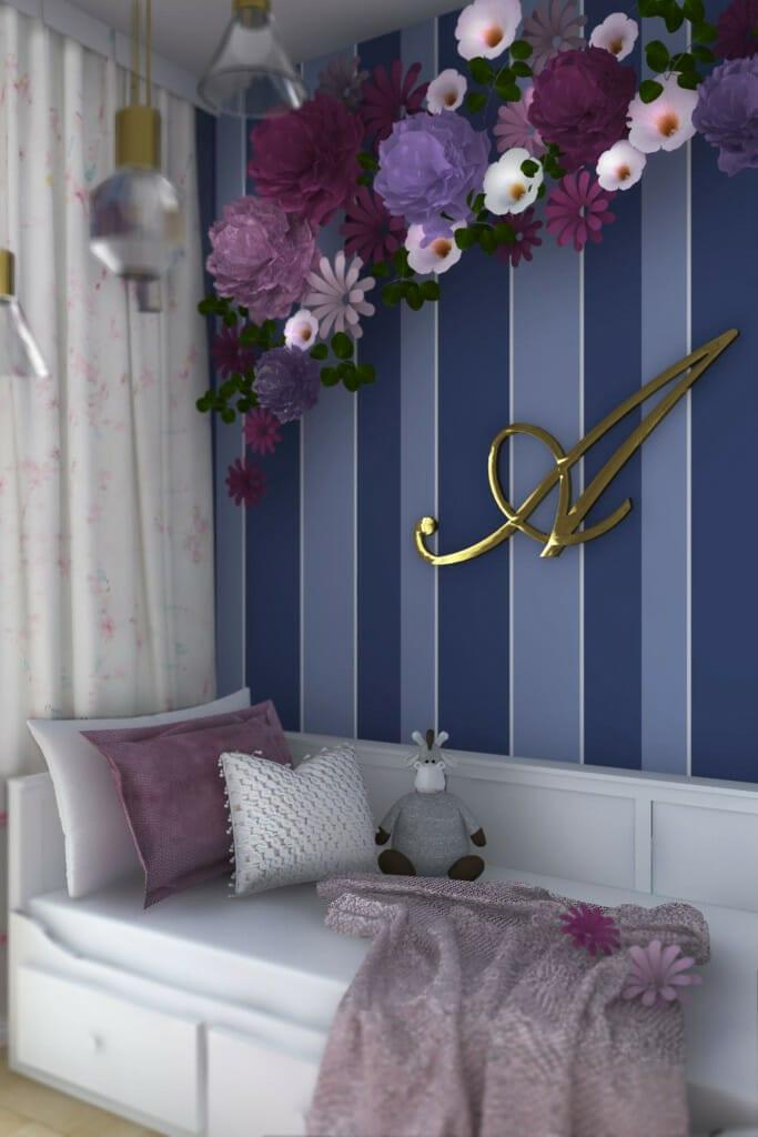 Wizualizacja pokoju córki, widok na ścianę z dekoracją - apartament w Rzeszowie, projekt wnętrz, architekt wnętrz, architektura wnętrz, projektowanie wnętrz, Rzeszów