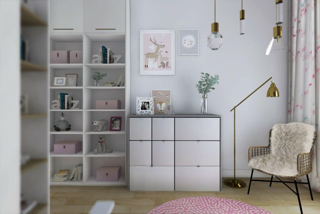 Wizualizacja pokoju córki, widok na komodę i regały - apartament w Rzeszowie, projekt wnętrz, architekt wnętrz, architektura wnętrz, projektowanie wnętrz, Rzeszów