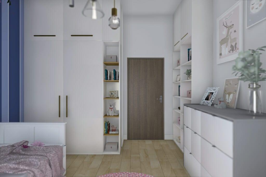 Wizualizacja pokoju córki, widok na drzwi wejściowe - apartament w Rzeszowie, projekt wnętrz, architekt wnętrz, architektura wnętrz, projektowanie wnętrz, Rzeszów