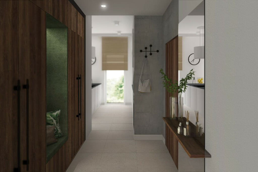 Wizualizacja przedpokoju - apartament w Rzeszowie, projekt wnętrz, architekt wnętrz, architektura wnętrz, projektowanie wnętrz, Rzeszów