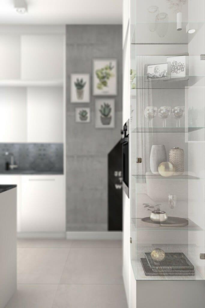 Wizualizacja salonu, widok na witrynę - apartament w Rzeszowie, projekt wnętrz, architekt wnętrz, architektura wnętrz, projektowanie wnętrz, Rzeszów